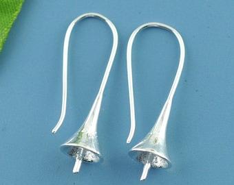 Trumpet earrings in 925 sterling silver, the pair, 30 mm