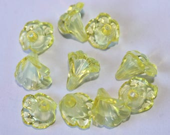 Beads acrylic flower, yellow, 11 * 10 mm, set of 10