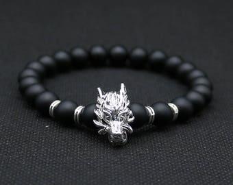 beautiful mens bracelet black agate stone beads