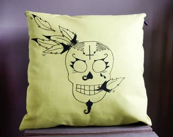 Throw pillow with green and black skull with feathers #2