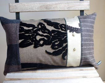 Bohemian chic patchwork pillow chocolate brown and black