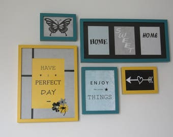 set of 5 frames yellow and blue