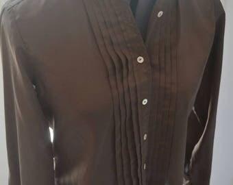 Vintage Hunters Run shirt - vintage shirt - vintage polyester shirt - vintage brown shirt