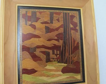 Picture inlaid representing an undergrowth fuchia
