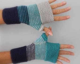 turquoise, purple and light grey hand knitted wool mittens