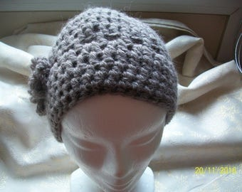taupe wool hat with two flowers