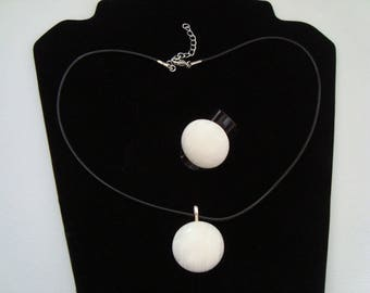 """Polished by hand """"clams"""" pendant and ring set"""