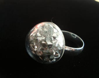 """Ring adjustable blown glass filled with mini rhinestones very shiny """"dome"""""""