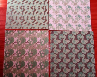 set of 4 sheets 10.5 x 15 cm green leaves theme Brown nature