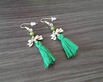 BO bow green Pompom