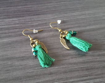Earrings tassel winged green