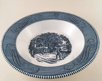 Royal China Currier and Ives The Children's Gate Serving Bowl Vintage Dinnerware, The Children's Gate Vegetable Bowl, Vintage Royal China