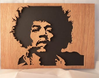 Portrait of JIMI HENDRIX woodcut, scalloped