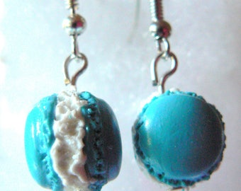 Earrings turquoise macaron in polymer clay white forage