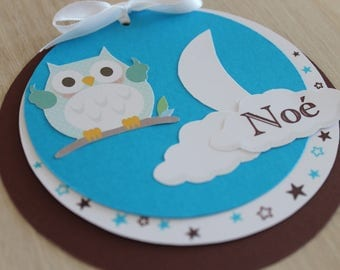 share round with owls and photo birth or christening