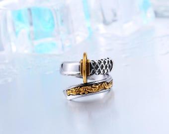 Superb ring stainless steel sword Samurai Japan.