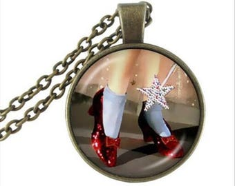 A beautiful necklace with a glass cabochon 25 mm fairy shoe