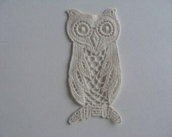applique embroidery lace cotton flat 10.7 OWL * 5.2 cm cream