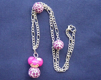 Pink Kokeshi Tiger necklace and matching beads