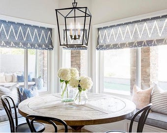 roman shades bay window navy blue white striped linen cordless shade blue ikat curtains custom widths - Blue And White Window Curtains
