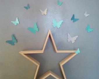 Butterflies in shades of blue for wall decoration