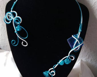 turquoise necklace and Pearl White