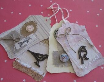 Set of 4 tags, fabric, bird, butterfly, eiffel tower, Scripture