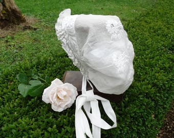 Old headdress wedding Baptist fine white embroidery and lace, antique french Hat wedding Hat costume, headdress,