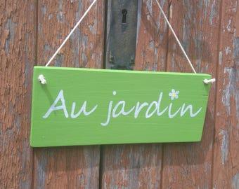 Garden wooden door plaque
