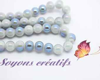 Set of 20 glass beads round 8mm light blue white - jewelry - SC75396 creation.