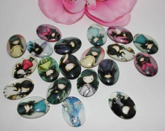 Lot 10 pattern girl 18x25mm craft glass Cabochons