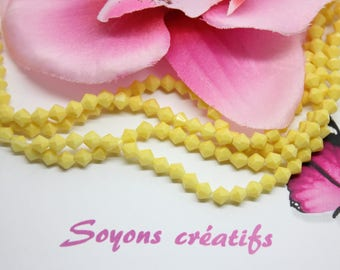 Lot 50 beads glass Bicone 4mm opaque yellow faceted bicone