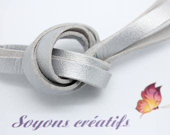 1 m of 8mm - creating Jewelry Silver leather strap