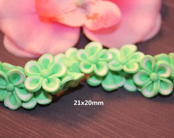 5 Green - SC21964 - design jewelry - polymer clay flower beads