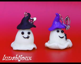 polymer clay ghost halloween clip-on earrings
