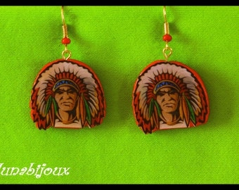 Bright ethnic American Indian resin earrings - Bohemian accessories - jewelry designer