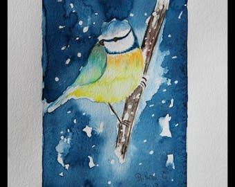 "Original watercolor - ""Bird song"" free shipping (bird spring flowers great tit animal nature)"