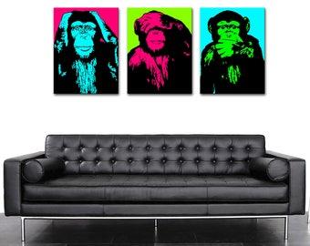 Pictures monkeys POP ART 2 colors