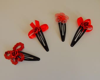 Set of 4 Bobby pins hair clip flower and satin