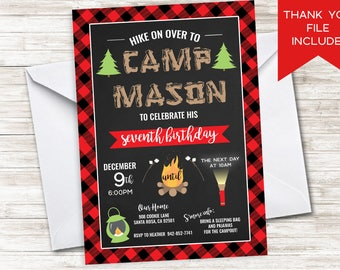 Campout Invitation Invite Camp Birthday Party Digitial 5x7 Plaid Winter Red Sleepover Boys Girls Lumberjack Print Backyard