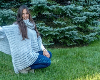 Wool Light Gray Poncho