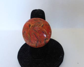 Ring fimo imitation orange marble round