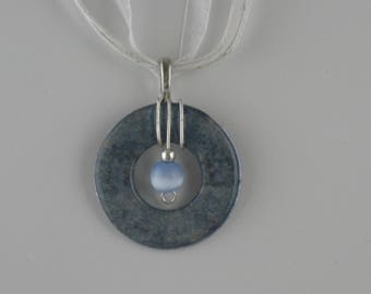 Light Blue & Silver Washer Necklace