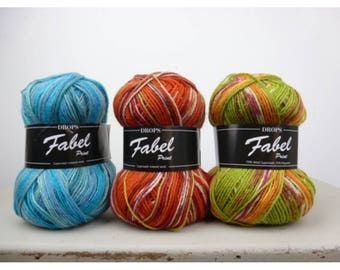 Fabel DROPS Print, 11 colors to choose from, 75% wool, 50 grams 205 yards