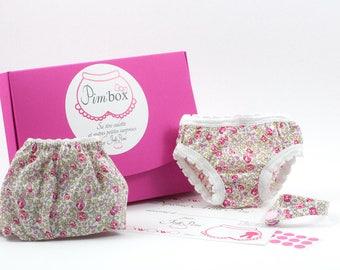Coffret cadeau apprentissage de la propreté pour petite fille Pim'Box : culotte+culotte de poupée+bracelet. Liberty Eloïse rose- JoliPim'