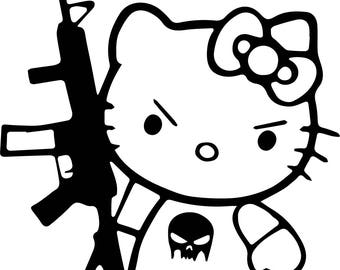 Hello Kitty with an M16 SVG