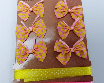 set of 6 2 yellow colored satin ribbon bows and pink small polka dot and square