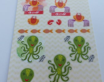 A4 images precut to assemble for a 3D image effect childrens fish Octopus crab
