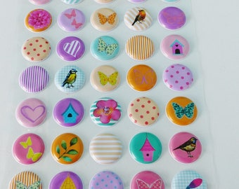 45 puffy domed embossed bird Butterfly heart gingham polka dot stripe circle stickers stickers