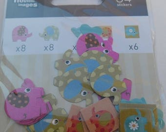 MINI STICKERS for shelf or CONSOLE * ELEPHANTS * 2 cm and 1.2 cm EAN 3045677575823